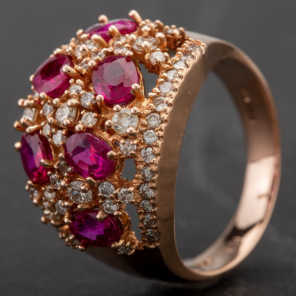 Pre-Owned 14ct Rose Gold Ruby and Diamond Cluster Ring 4332066