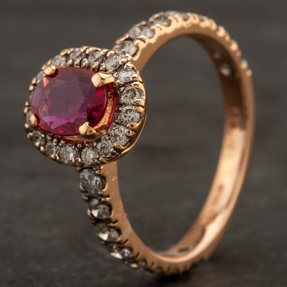 Pre-Owned 14ct Rose Gold Oval Ruby Diamond Cluster Ring 4332071